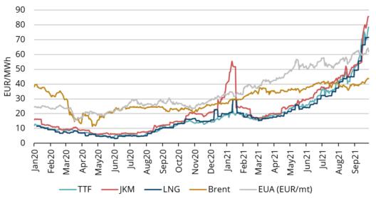Рис. 1. Цены на энергоносители, 2020–2021 гг., Refinitiv